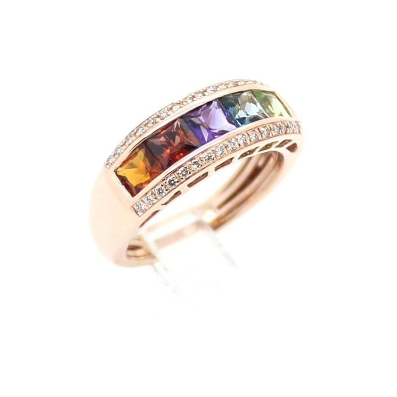 SoHo Rose Gold Multi-Colored Gem Banded Ring