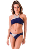 Bikini Areia Branca / Cropped Due Color Laser Cut  Blue