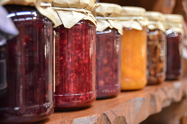 A variety of jam flavors.