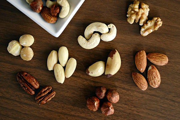 A table full of mixed nuts.