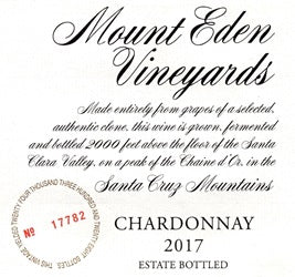 2017 Mount Eden Vineyards Chardonnay Santa Cruz Mountains Estate