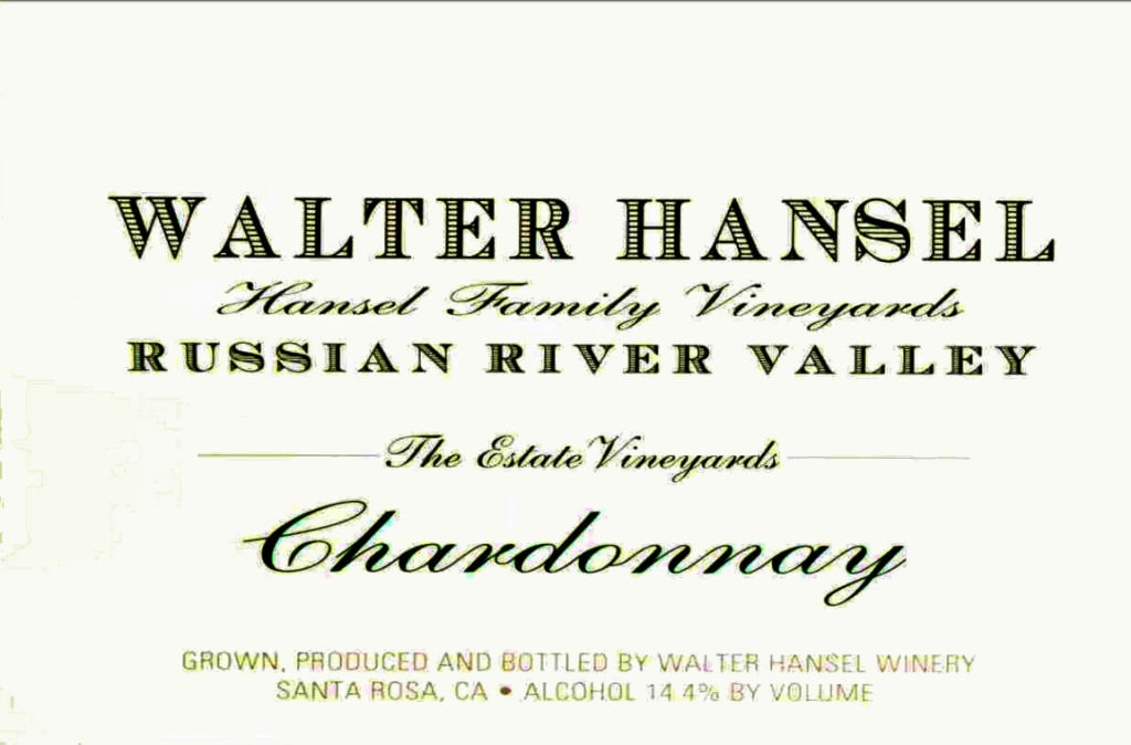 2018 Walter Hansel Chardonnay Estate Russian River
