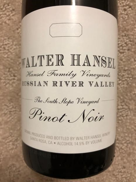 2016 Walter Hansel Winery Pinot Noir The South Slope Vineyard