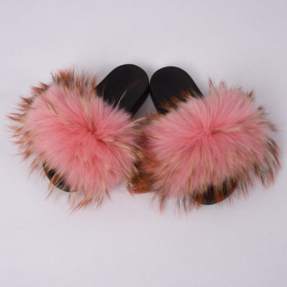 aa30eed5f Women s Fur Slipper Real Raccoon Fur Fashion Style Furry Slides Soft Warm  Big Fluffy Fur Shoes