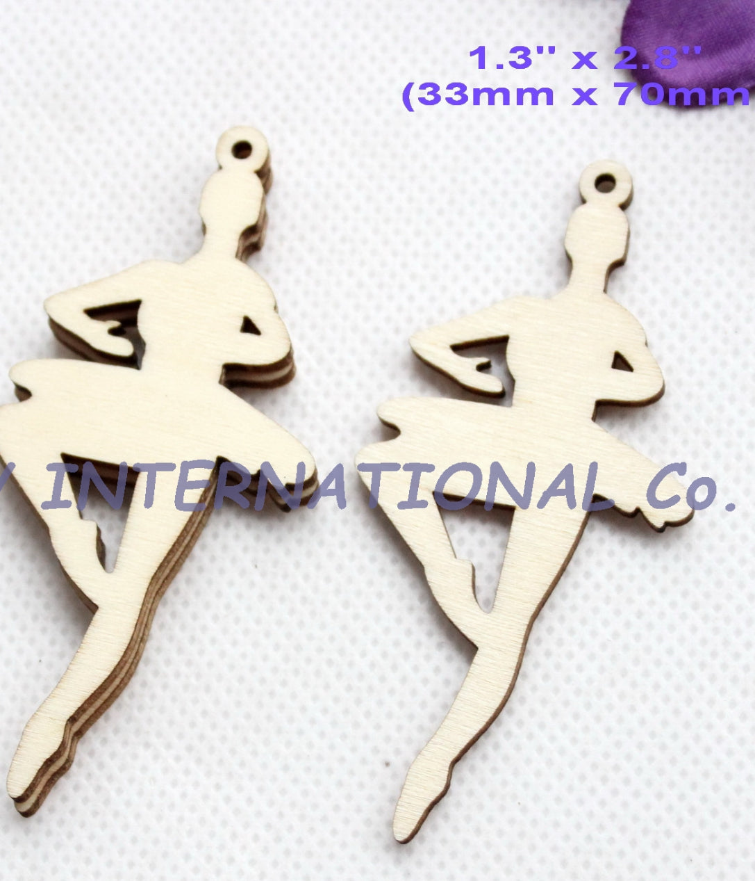 (14pcs/lot) Natural Wooden Ballerina Ornaments
