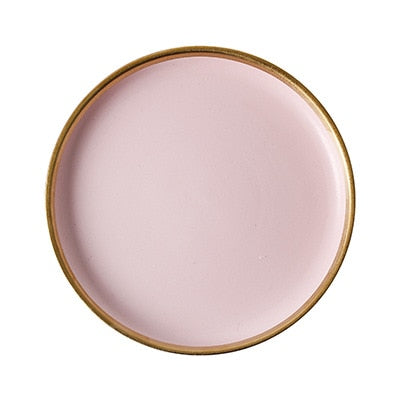 Nordic Home Decor Porcelain Pink Plates Gold Rim Dinnerware Set Table Kitchen Utensils Ceramic Serving Dishes For Weddings Party