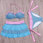 Juniors Floral  Printed Halter Swimsuit 3pcs