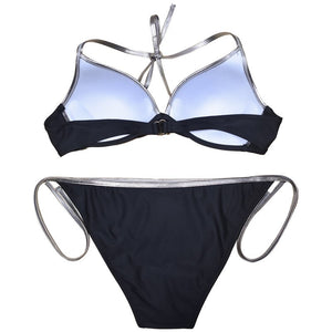 Bordered Solid Bikinis Swimsuit