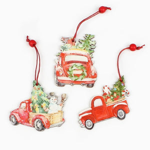 3Pcs  Wooden Truck Ornament For Christmas