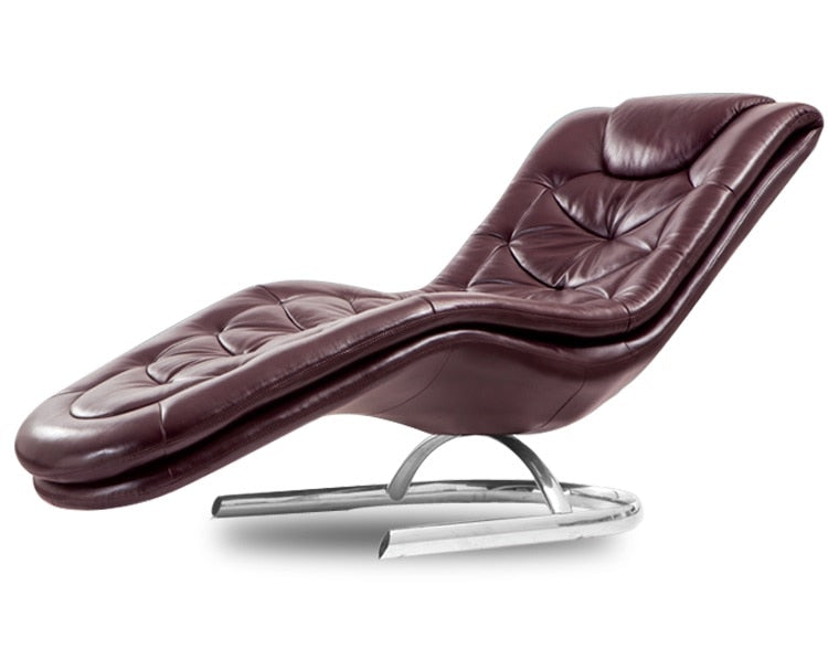 Reclining Lounge Chiar with Authentic Leather Upholstery