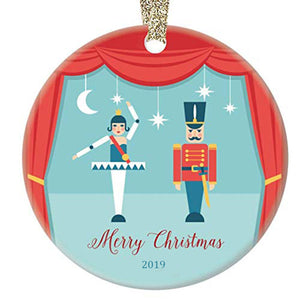 Nutcracker Merry Christmas Ceramic Ballerina Ornament