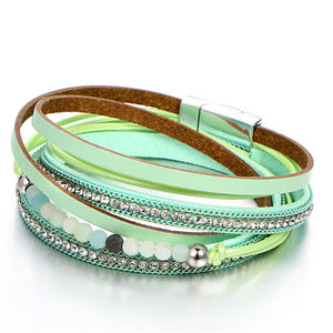 Beads Crystal Leather Bracelet