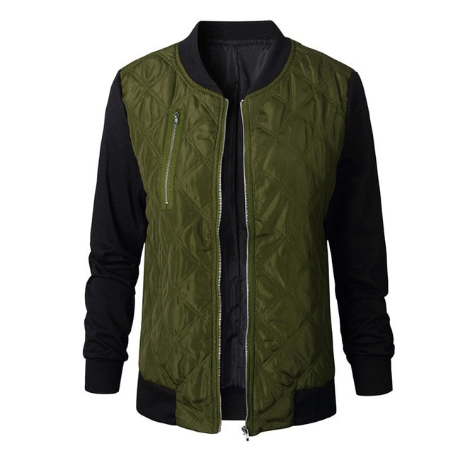 Women Zipper Stitching Quilted  Bomber Jacket