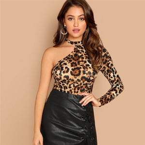 One Shoulder Leopard Print Tee