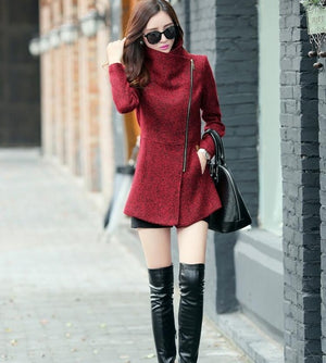 Elegant Turn Down Collar Woolen Coat