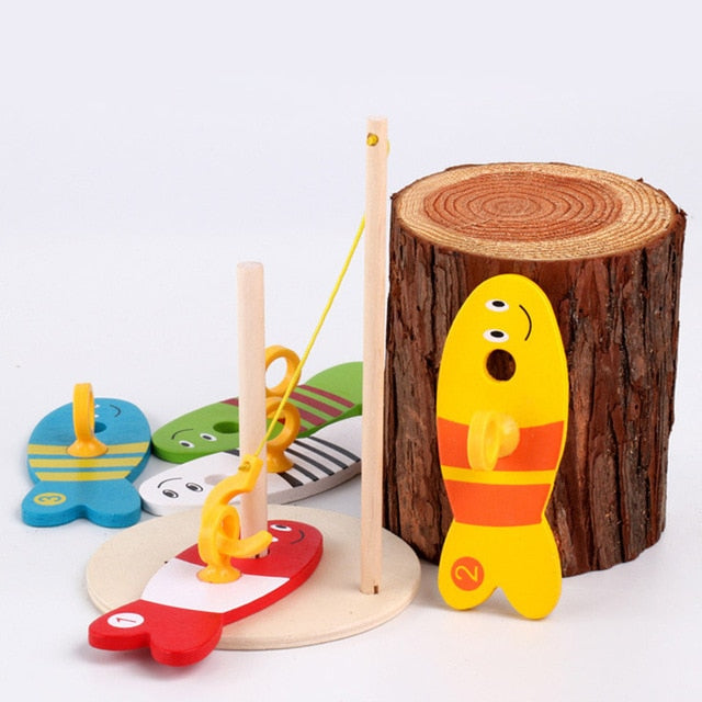 Wooden Digital Fishing Toy