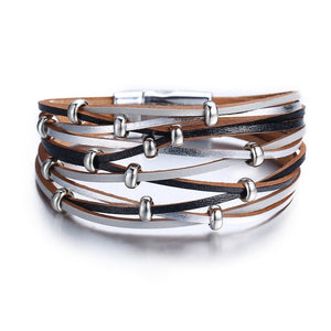 Gold Silver Color Beads Leather  Bracelets
