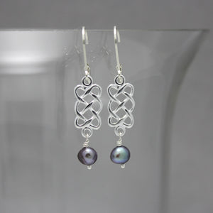 Celtic Knot & Fresh Water Pearl Earrings