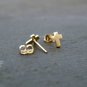 Small Cross 10k Gold Studs