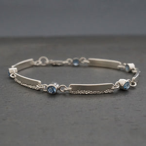 Bubble Texture Bar Bracelet with Blue Zircon