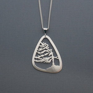 Framed Windswept Pine Tree Pendant