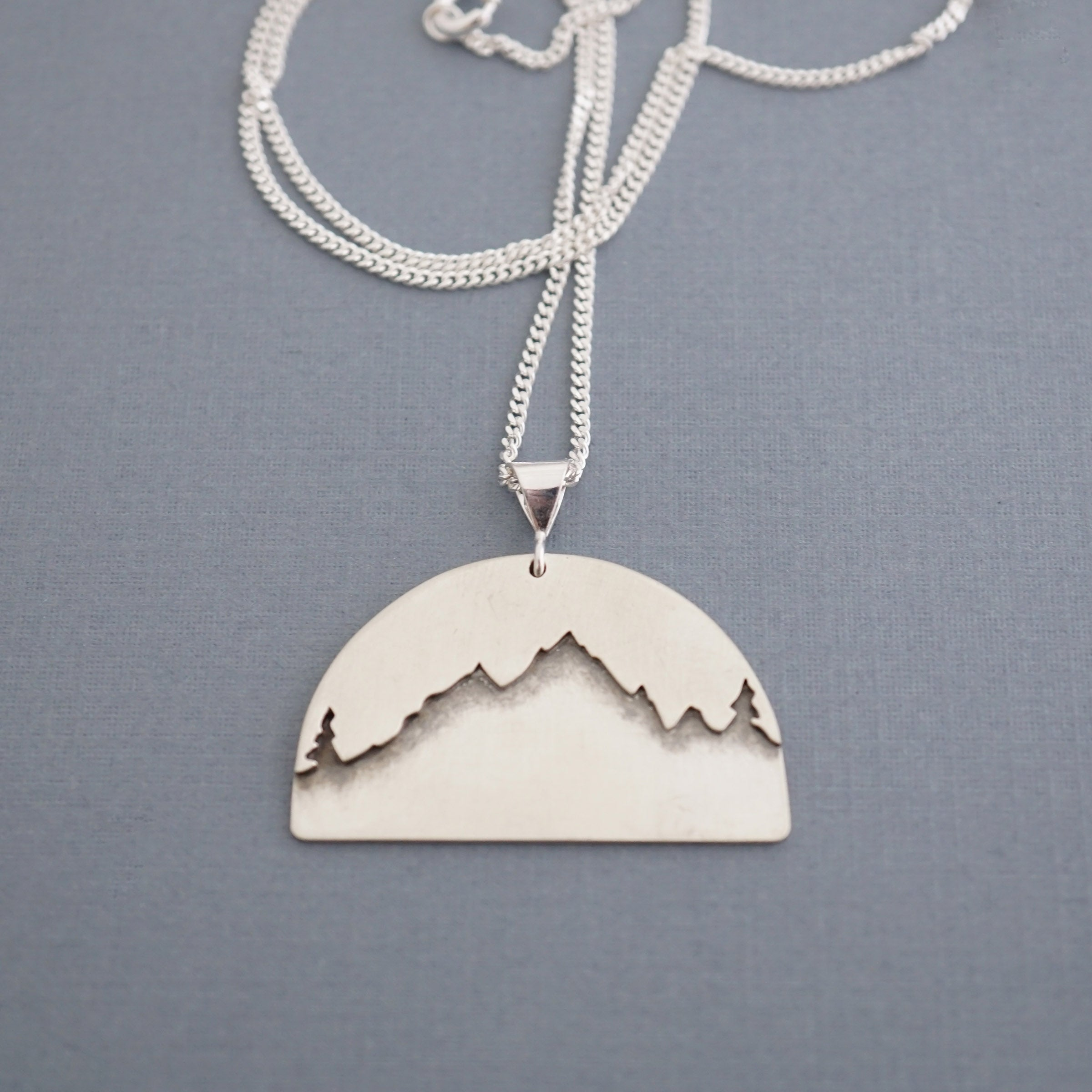 Forest Mountain Silhouette Pendant