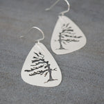 Solid Windswept Pine Tree Earrings