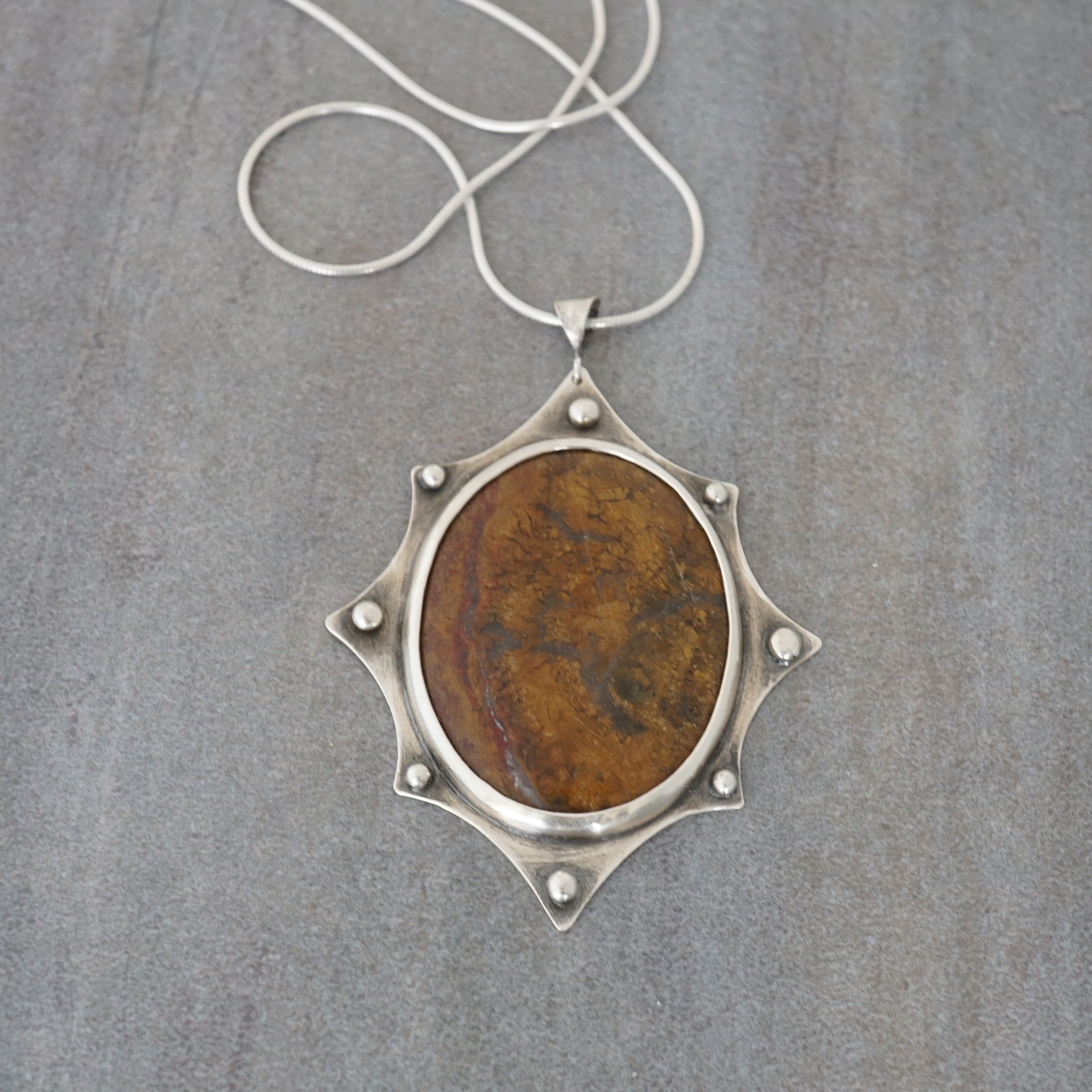 OOAK Petrified Wood Shield Pendant