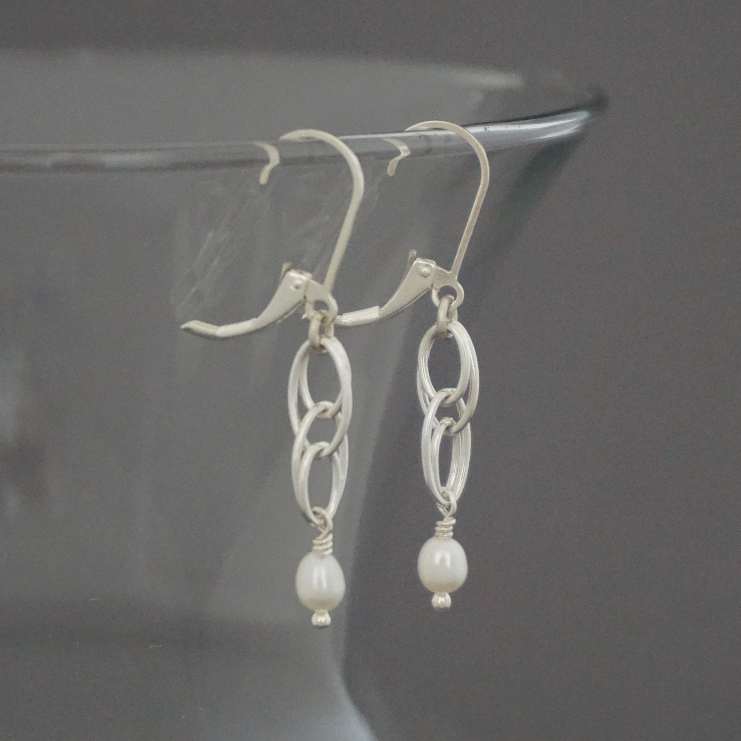 Double Oval Cascade FWP Drop Earrings