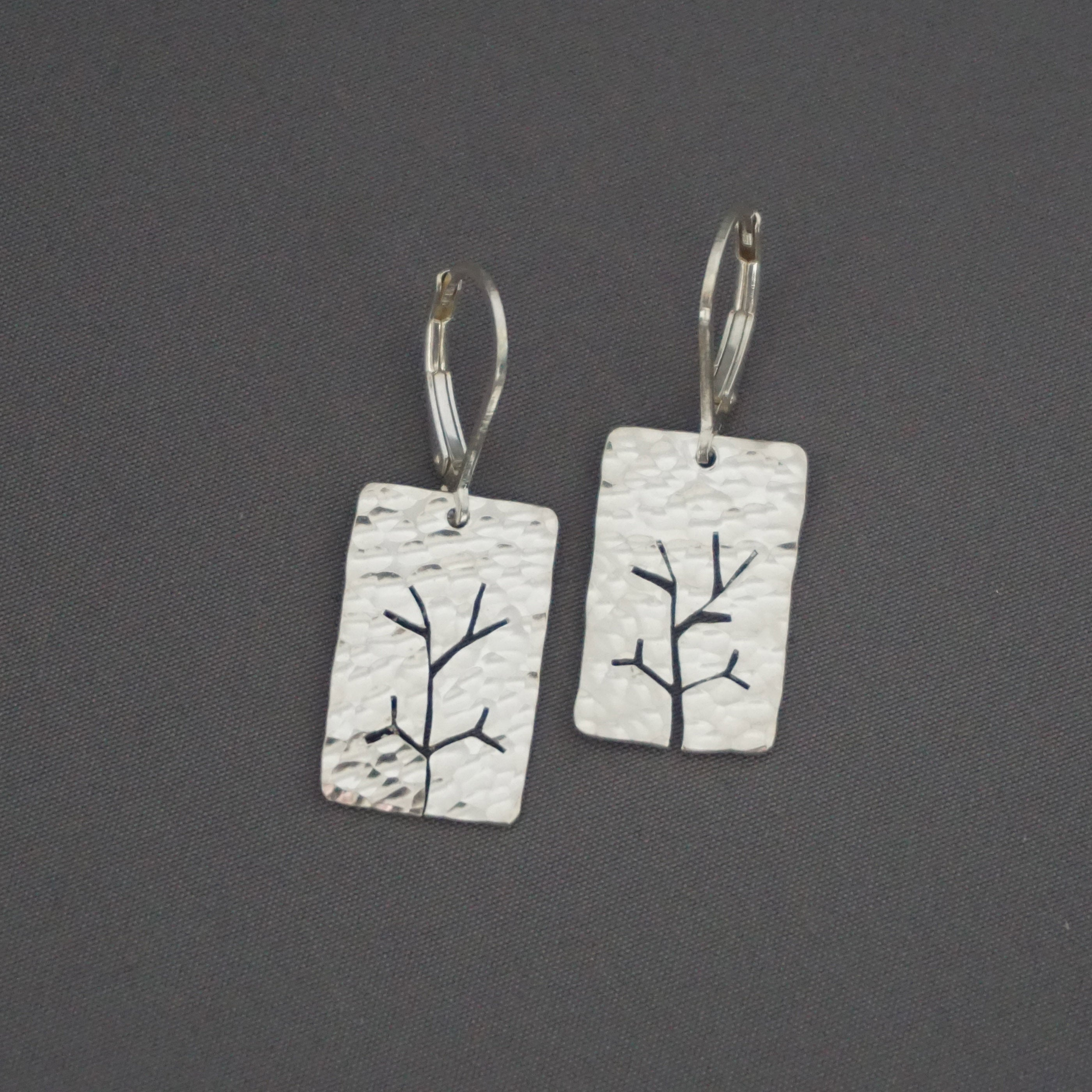 Hammered Tree Sapling Earrings