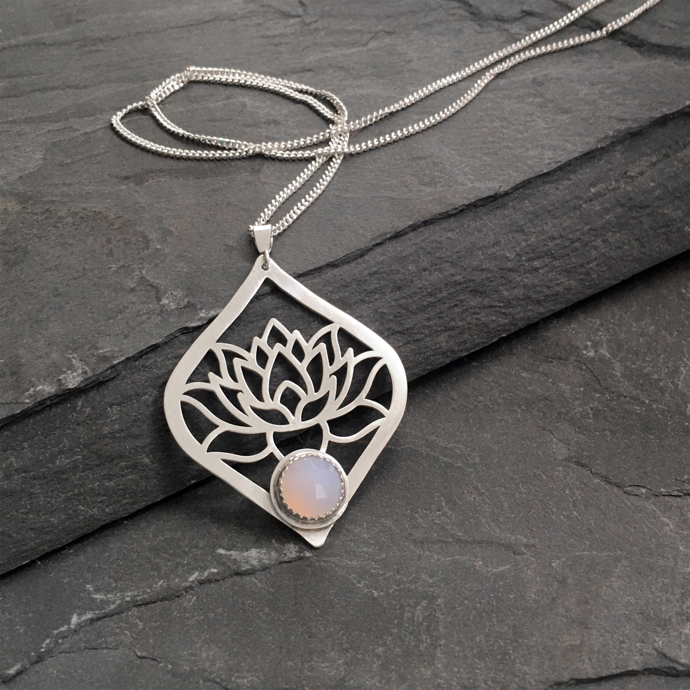 Lotus Blossom Pendant with set stone
