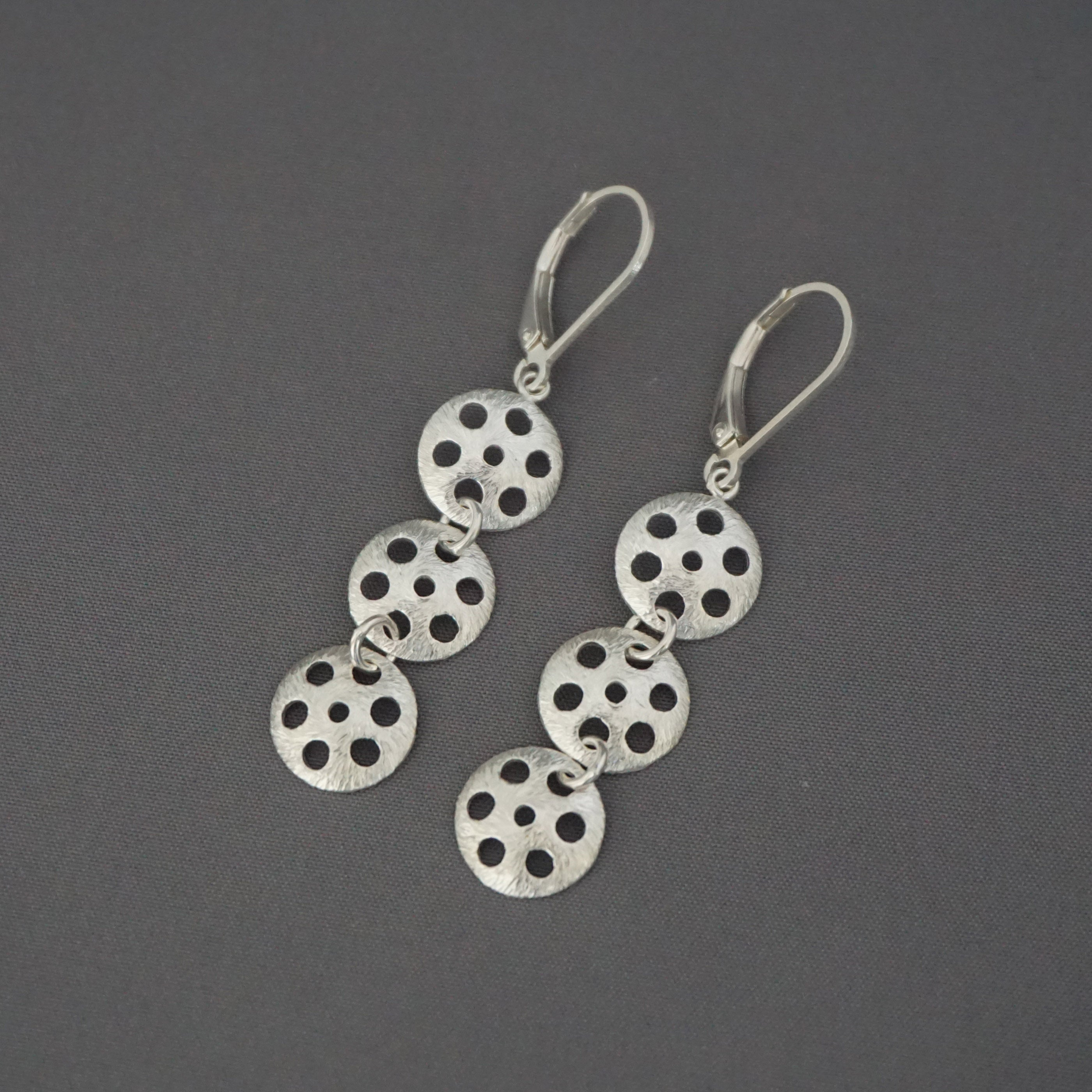 Triple Lotus Root Drop Earrings