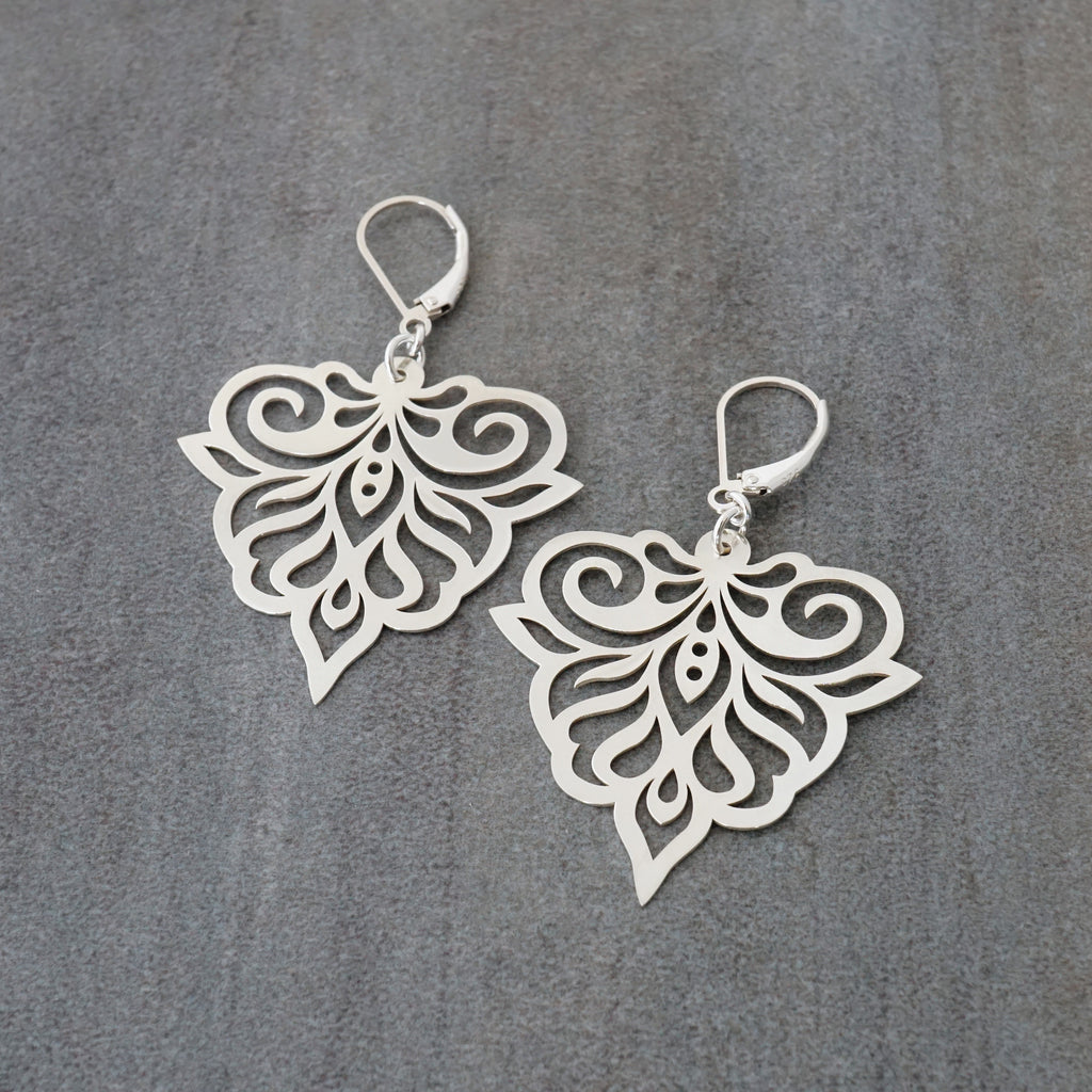 Fancy Lace Pierced Petal Drop Earrings