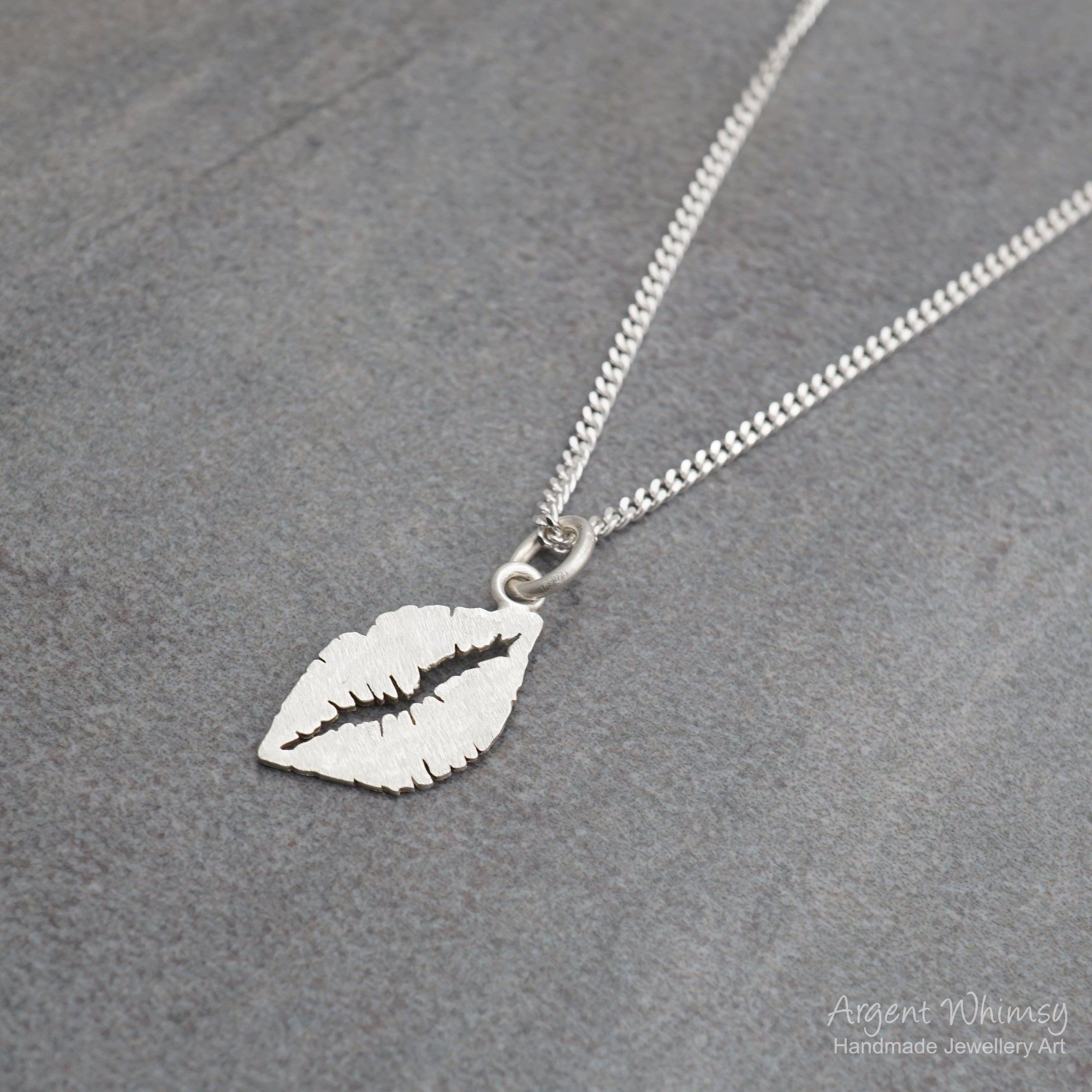 Medium Frosted Lips Charm Necklace