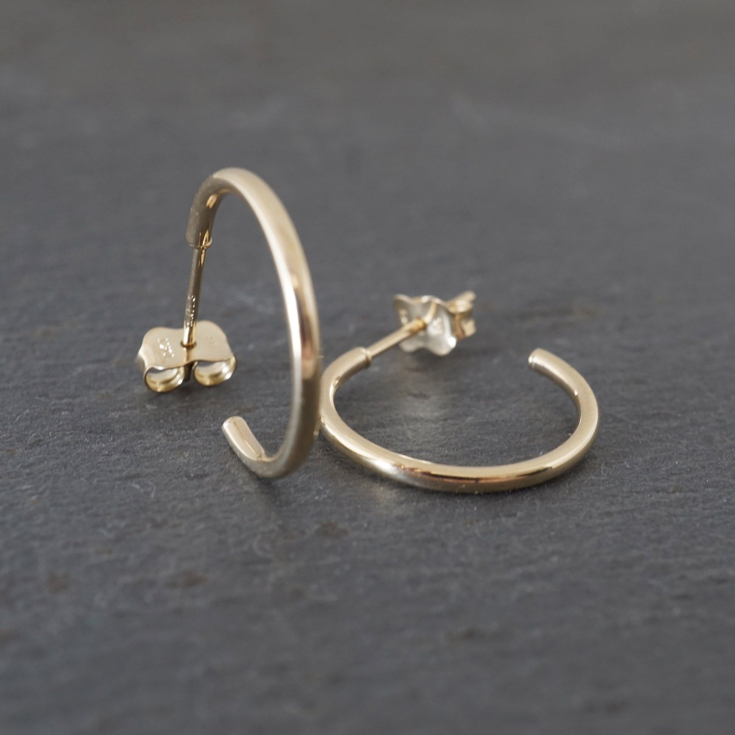 Small Round Hoops 10k Gold Studs