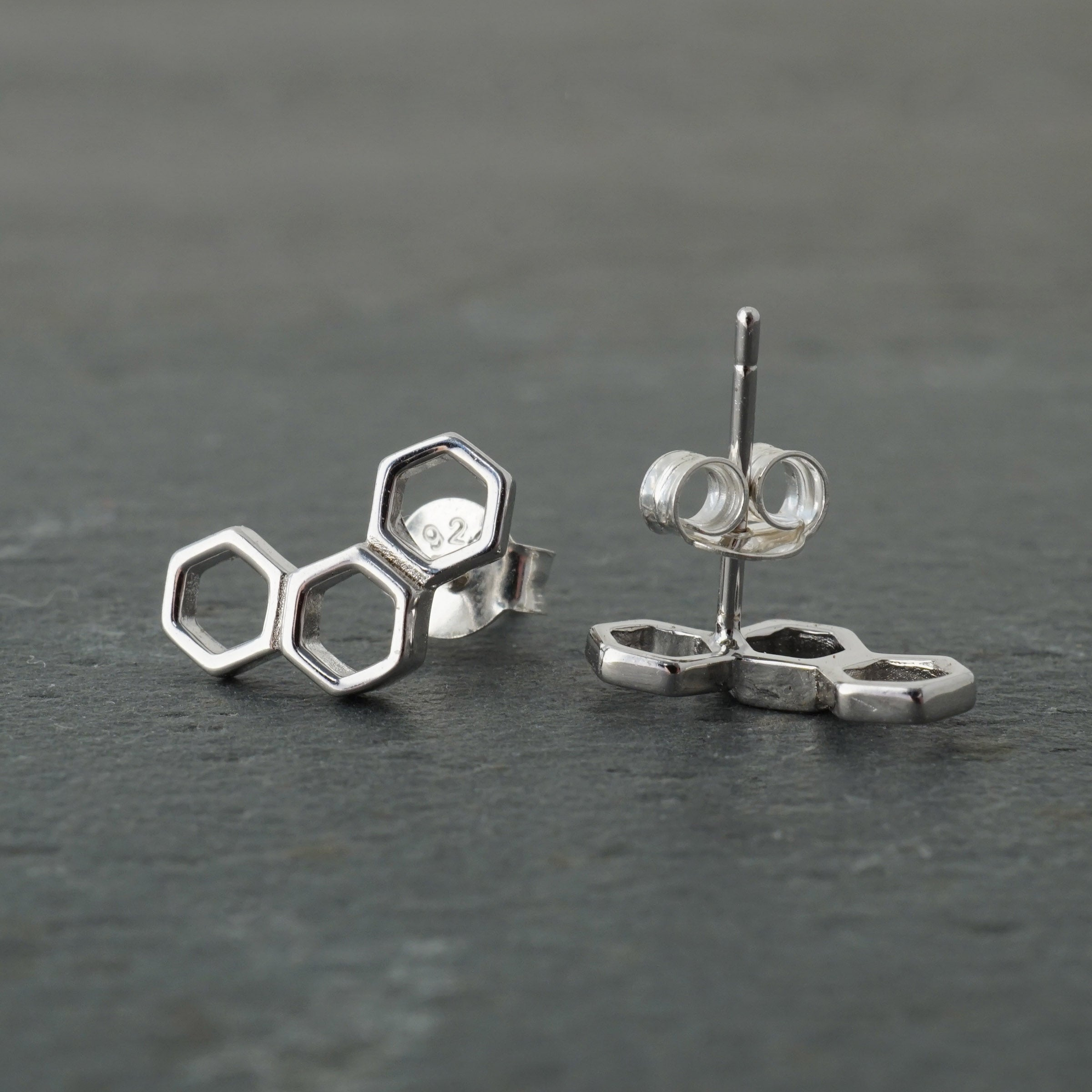 Triple Honeycomb Hexagon Studs