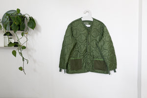 green quilted military jacket liner
