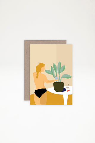 AHD Paper Co Greeting Card - Woman Watering Plant