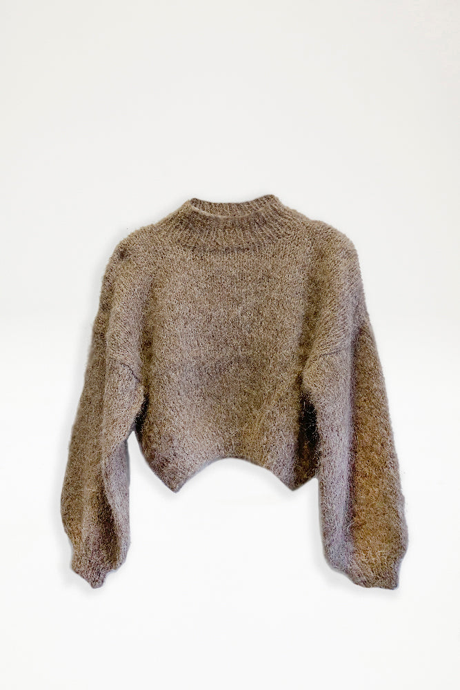 Alpaca Knit Cropped Jumper - Taupe - Pre Order