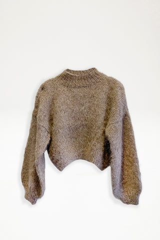 Alpaca Knit Cropped Jumper - Taupe