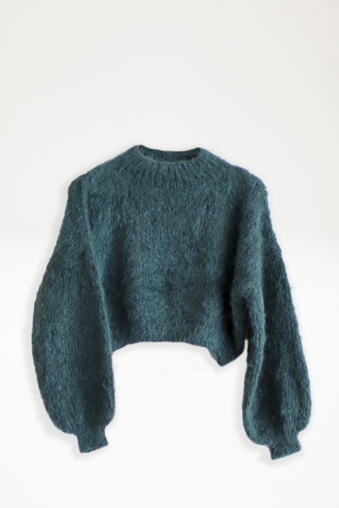 Alpaca Knit Cropped Jumper - Forest