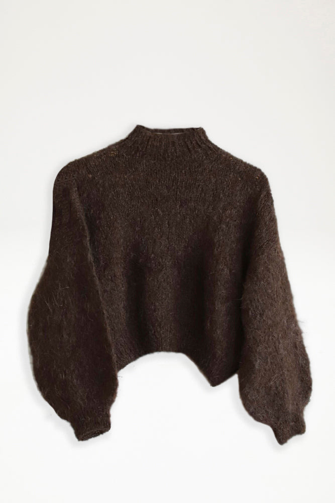 Alpaca Knit Cropped Jumper - Chocolate