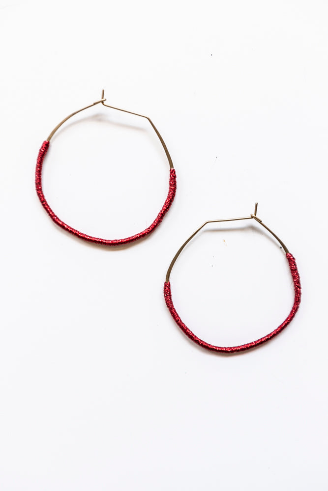 Lilly Buttrose - Woven Earrings Metallic Red