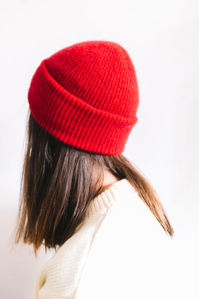 Possum Merino Fine Rib Beanie - Red