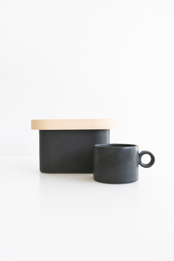 Daniel Emma - Good Morning Stoneware and Timber Tea Canister