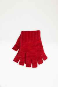 Possum Merino Open Finger Gloves - Red