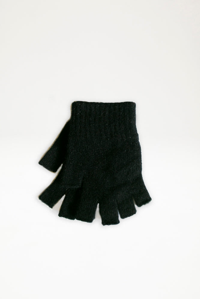 Possum Merino Open Finger Gloves - Black