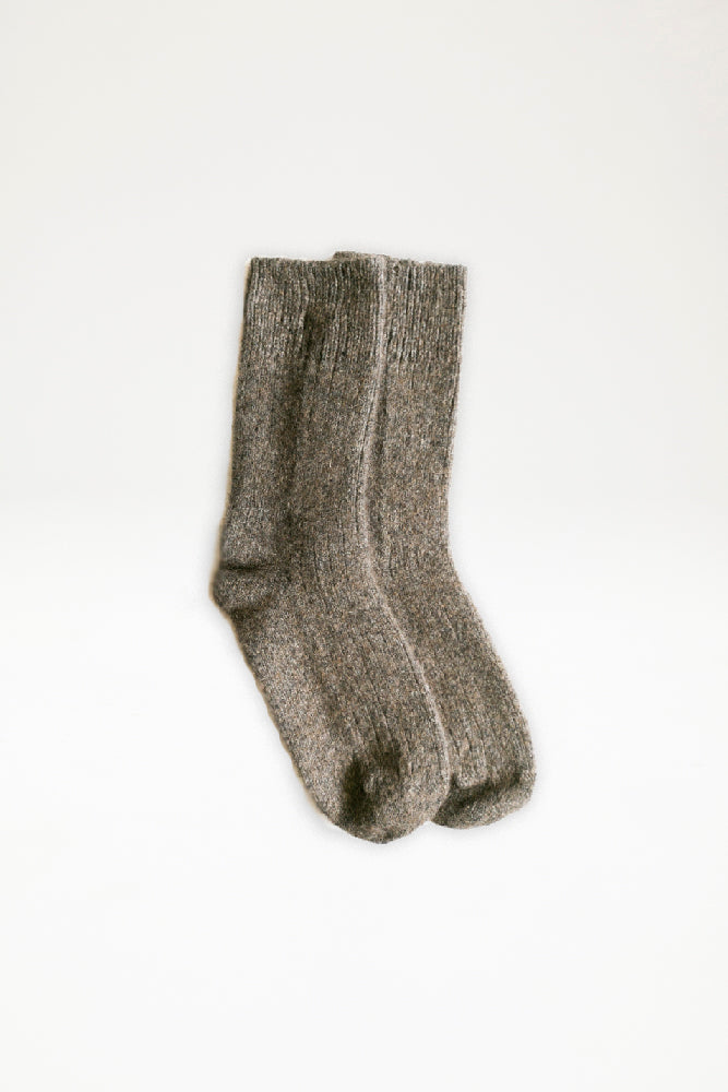 Possum Merino Rib Socks - Bark