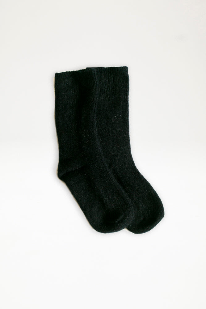 Possum Merino Rib Socks - Black