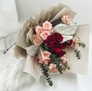 red rose dutch carnation proposal bouquet Cheap Flower Delivery Same day flower delivery available for orders placed before 2pm. Free delivery above $60